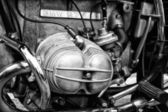 BERLIN - MAY 11: Motorcycle engine BMW R75-5 (black and white), — Stock Photo