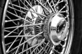 BERLIN - MAY 11: Detail of the wheels of the car Jaguar E-Type ( — Stock Photo
