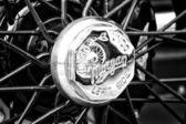 BERLIN - MAY 11: Detail of the wheels of the car Morgan Super Sp — Стоковое фото