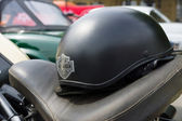 BERLIN - MAY 11: Harley Davidson Motorcycle helmet lying on the — Foto Stock