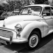 Stock Photo: BERLIN - MAY 11: Economy car Morris Minor 1000 (black and white)