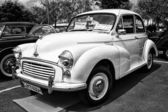 BERLIN - MAY 11: Economy car Morris Minor 1000 (black and white) — Stock Photo