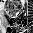 Roadster Jaguar SS 100, a fragment, (Black and White) — Stock Photo