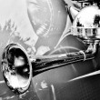 Horn of an old car (Black and White) — Stock Photo