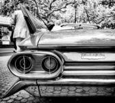 Rear brake lights Cadillac de Ville Coupe (Black and White) — Stock Photo