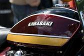 The emblem of the motorcycle gas tank Kawasaki — Stock Photo
