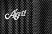 Radiator (engine cooling) and the emblem of the car AGA Typ C 6 - 20 PS (Black and White) — Zdjęcie stockowe