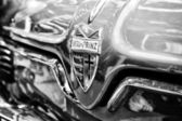 Radiator (engine cooling) and the emblem of the car NSU Sportprinz (Black and White) — Stock Photo