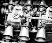 Weber Carburetor close-up (Black and White) — Stock Photo