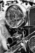 Roadster Jaguar SS 100, a fragment, (Black and White) — Zdjęcie stockowe