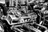Chevrolet Engine close-up (Black and White) — Stock Photo