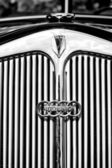 Radiator (engine cooling) and the emblem of the car DKW (Auto Union) — Stock Photo