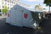 Malteser International Tent near the Brandenburg Gate — Stock Photo