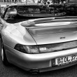 Car Porsche 911, a rear view (black and white) — Foto Stock