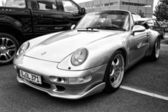 Car Porsche 911, front view (black and white) — Stock fotografie