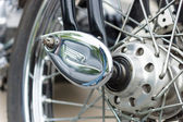 Fragment Locking hubs motorcycle Harley-Davidson, close-up — Stock Photo
