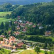 View Kurort Rathen. Saxon Switzerland (Saechsische Schweiz). Germany. Tilt-shift lens. — Stock Photo