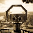 Stock Photo: Tourist binoculars for sightseeing. Sepia.