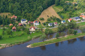 The small village by the river. Top view. Germany. — Foto de Stock