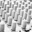 Music Mixer. Close-up. Focus on the foreground. Black and white. — Stock Photo