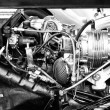 Stock Photo: Engine roadster MG TD Midget