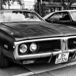 Постер, плакат: A mid size automobile Dodge Charger B body third generation black and white