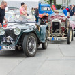 Stock Photo: French retro car Amilcar (Ecurie SideCar) and English Retro cars Riley MPH 15-6
