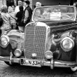 Постер, плакат: Full size luxury car Mercedes Benz 220 Cabriolet A W187 black and white