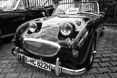 Small open sports car Austin-Healey Sprite (black and white) — Stock Photo