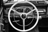 """Cab full-size luxury car Mercedes-Benz 220 """"Cabriolet A"""" (W187) black and white — Stock Photo"""