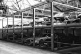 The double-deck parking for vintage cars — Stock Photo