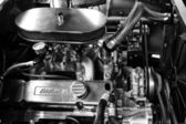 Engine Chevrolet Bel Air (black and white) — Stock Photo