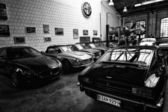 The Restoration Workshop Alfa Romeo (black and white) — Foto de Stock
