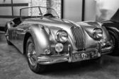 Sport car Jaguar XK140 Roadster, (black and white) — Stock Photo