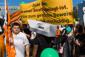 "Under the motto ""Freedom not Fear"" held a demonstration in Berlin. — Stock Photo"
