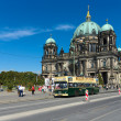 Tourist double decker bus on background Berliner Dom — Stock Photo