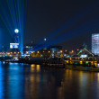 Pleasure boats in the night illumination on the River Spree — Photo