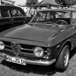 Italian car Alfa Romeo GT 1300 Junior, front view, black and white — Photo