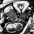 Motor bike Honda VT600 PC21 Chopper Bike (1996), close-up, black and white — Foto de Stock