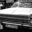Full-size car Rambler Ambassador 990 convertible, (black and white) — Stock Photo