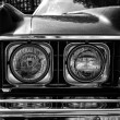 Headlamp full-size car Chevrolet Caprice (1973), black and white — Stock Photo