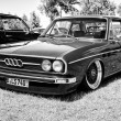 Compact executive car Audi 80 B1, black and white — Stock Photo