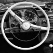 Cab the car Mercedes-Benz 190SL (black and white) — Stock Photo