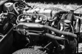 British engine two-seat sports car Triumph Spitfire 1500 (black and white) — Stock Photo