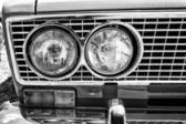 Headlamp soviet family car VAZ-2106, close-up, black and white — Stock Photo