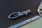 O emblema do carro de tamanho médio dodge charger r-t, (preto e branco) — Foto Stock