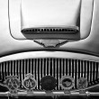 The radiator grille Austin-Healey 3000 Mark III and emblems of various car clubs (black and white) — Stock Photo