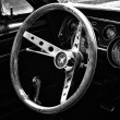 Cab sports car Ford Mustang Convertible (1967), black and white — Stock Photo #33190669