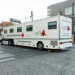 Mobile blood donation point at Alexanderplatz. German Red Cross — Stock Photo