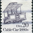 A postage stamp printed in USA, shows the Cable Car, 1880 — Photo
